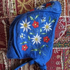 Vintage Swedish Wool Embroidered Bonnet